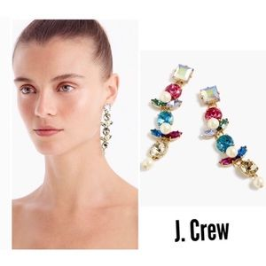 NWT J. CREW MULTI COLOR Crystal Pearl Drop Earring